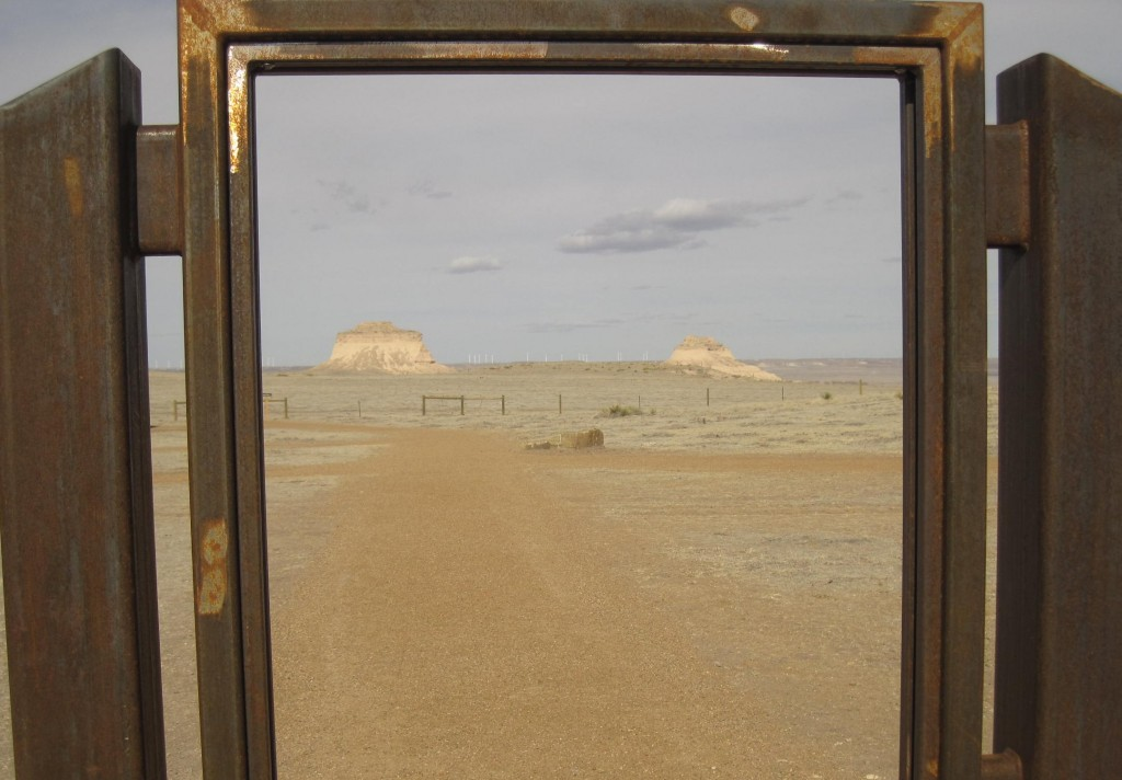 Cropped Window Scene of Buttes