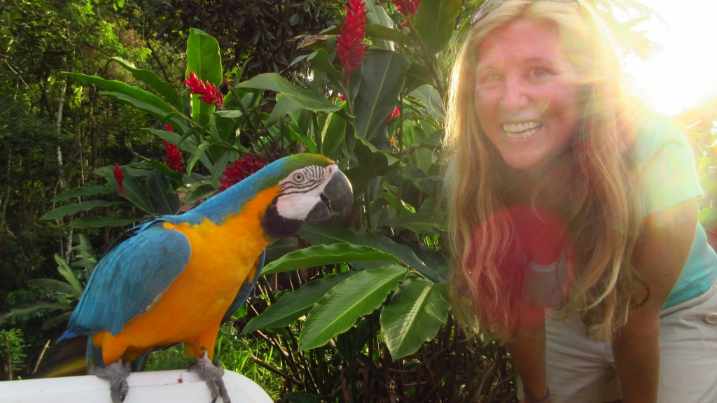 Cassie and parrot